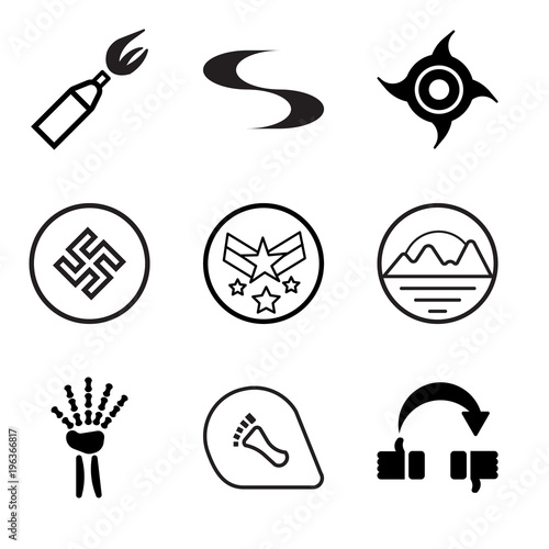 8ce8c0f7 Set Of 9 simple editable icons such as flip over, podiatry, radiologist,  pinnacle