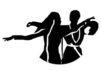 Dances of the Caucasian peoples, vector illustration, silhouette of dancers girls and guys dancing in national dress