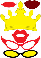 Party accessories set - glasses, crown, lips