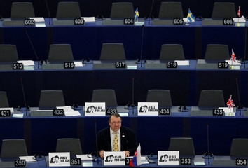 Slovakia's MEP Skripek attends a debate on the protection of investigative journalists in Europe after the murder of Slovak journalist Kuciak, at the European Parliament in Strasbourg