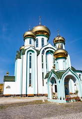 Russian orthodox church with typical golden onion domes