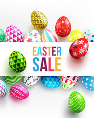 Easter Day banner background template with Colorful Painted Easter Eggs and space for your text.Vector illustration EPS10