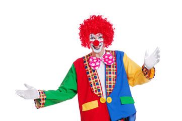 Happy clown with spread inviting hands