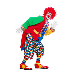 Funny clown imitating comic walk in a white studio