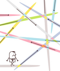 Cartoon Businessman Lost in Directions