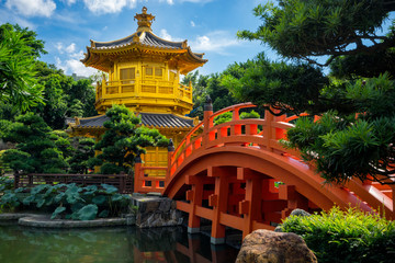 Hongkong beautiful golden teak wood pagoda at Nan Lian Garden in Hong Kong