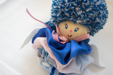 Hand Made Blue Doll, Made Of Wool