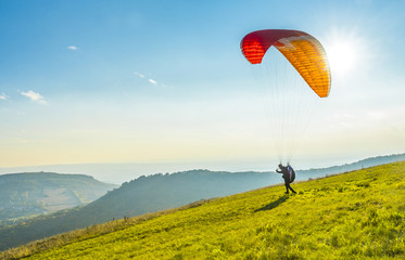 Foto auf Acrylglas Luftsport Paraglider on the ground