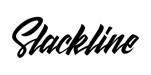 Slackline lettering logo isolated on white background. Modern calligraphy vector illustration for design t-shirts, banners, labels, apparel, competition.