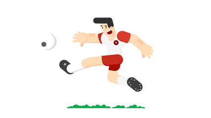 Soccer player hits the ball. Flat vector illustration. Isolated on white background