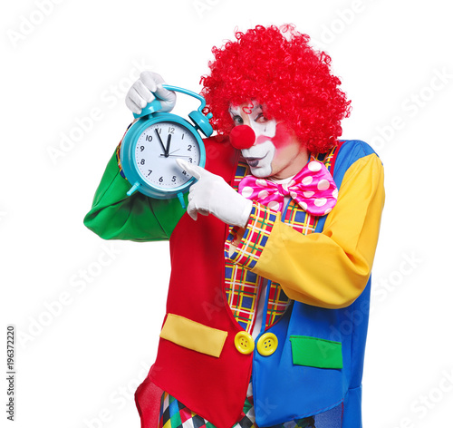 Clown Holding In A Hand Alarm Clock Stock Photo And Royalty Free