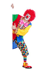 Vertical picture of a clown holding blank board showing thumbs up gesture