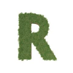 Alphabet R made of green tree on white background. 3D illustration