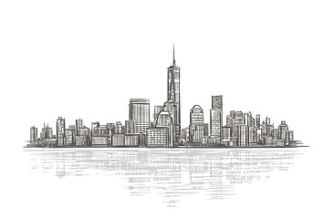Modern city silhouette isolated vector illustration.