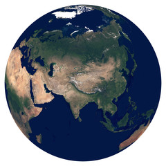 Earth from space. Satellite image of planet Earth. Photo of globe. Isolated physical map of Eurasia (China, Russia, India, Turkey, Japan, Indonesia, Germany). Elements of this image furnished by NASA.