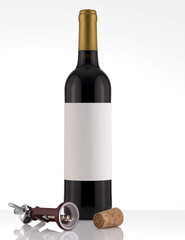 Isolated Red Wine Bottle in a White Background, White Label