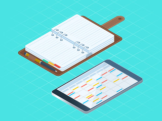 Flat isometric illustration paper and electronic planners. Left top view of business personal accessory. Office supply vector concept: diary organizer, tablet pc with agenda, schedule on the screen.