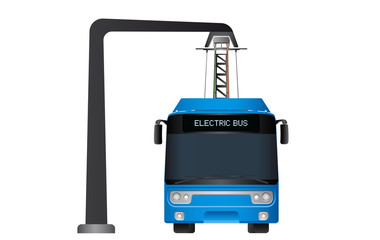 Blue electric bus at a stop is charged by pantograph. Vector illustration EPS 10