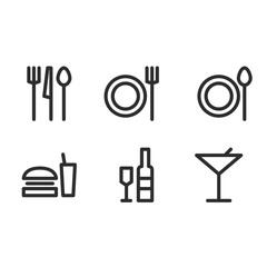 Set of flat simple food and drink sign icon. vector illustration