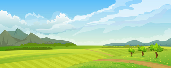 Rural summer landscape with mountain