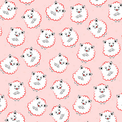 Vector background with seamless pattern texture with lamb on pink background