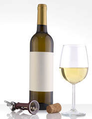 Isolated White Wine Bottle in a White Background and Glass