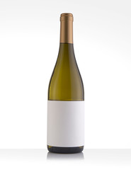 Isolated White Wine Bottle in a White Background