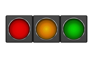 Modern horizontal led traffic light with of switching-on red, yellow, green lights.
