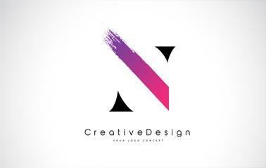 N Letter Logo Design with Creative Pink Purple Brush Stroke.