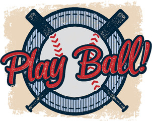 Vintage Play Baseball Sports Design
