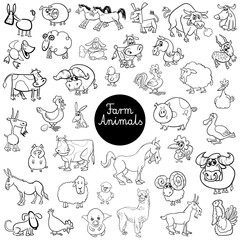 funny farm animal characters set color book