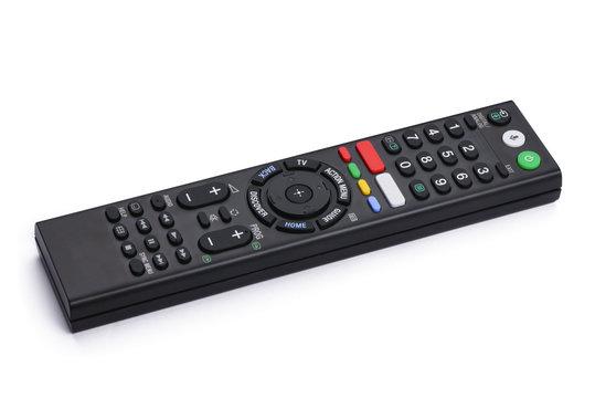 Smart TV remote control on white background