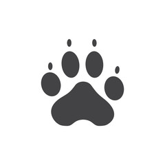 Vector illustration. Dog Paw Prints Logo. Black on White background. Animal paw print with claws.