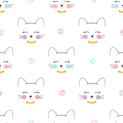 Seamless cute cats pattern. Vector background for kids.