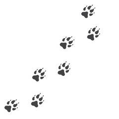 Vector illustration. Wolf Paw Prints Track Logo. Black on White background. Animal paw print with claws.