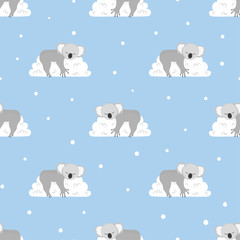 Seamless pattern with cute sleeping koala bears on the clouds. Vector background