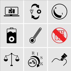 Set Of 9 simple editable icons such as you are here, lower risk, advocate, past due, chemotherapy, operations, dimmable, omnichannel, proven, can be used for mobile, web UI