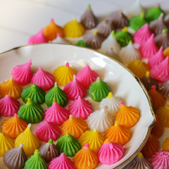 Aalaw or Alua, Thai traditional candy sweet dessert, food background, pattern and texture of sweet in pastel color