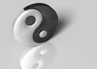 3D Illustration. A yin yang sign on a