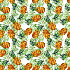 watercolor pineapple seamless pattern illustration