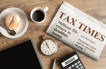 Tax time concept, mock up newspaper headline