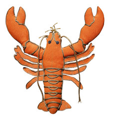 Isolated toy lobster ornament.