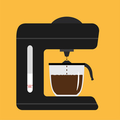 Vector black coffee maker with on yellow background. Drops making waves on the coffee surface.
