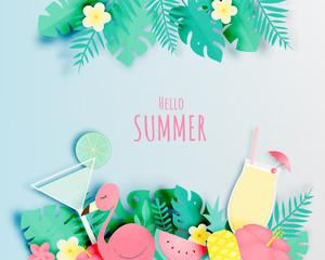 Tropical floral with flamingo and cocktail in paper art style and pastel color scheme