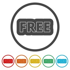 Free sign, Free vector icon, 6 Colors Included
