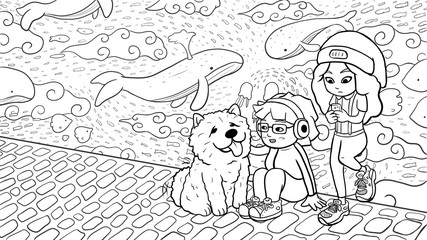Two urban girls and a chow chow dog hanging out in front of a graffiti wall, with whales and fishes flying in the sky. Black & White version.