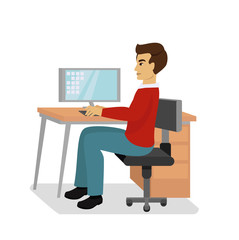 Vector illustration of businessman at the desk with a laptop and working isolated on white background in flat cartoon style.