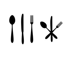 Crossed Spoon with Fork and Knife Accessories Food Sign Symbol Icon Logo Vector
