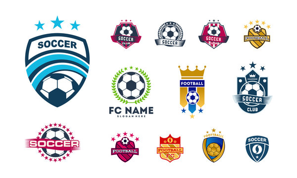 Set of Various Soccer Football Badge logo designs, Soccer Emblem logo template vector illustration