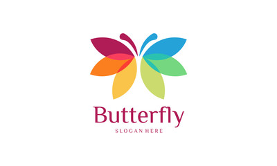 Colorful Butterfly Logo designs template, , Butterfly logo designs template vector